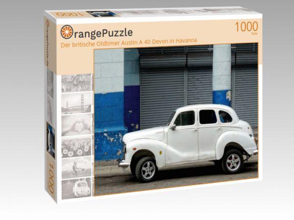 """Puzzle Motiv """"Der britische Oldtimer Austin A 40 Devon in Havanna"""" - Puzzle-Schachtel zu 1000 Teile Puzzle"""