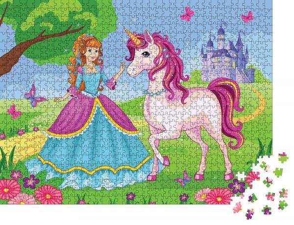 """Puzzle-Motiv """"Wunderschöne Prinzessin und weißes Einhorn auf dem Hintergrund des Palastes Ein Wunderland"""" - Puzzle-Teile zu 1000 Teile Puzzle"""