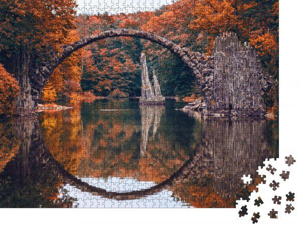 """Puzzle-Motiv """"Rakotzbrücke (Rakotzbrucke, Teufelsbrücke) in Kromlau, Sachsen, Deutschland"""" - Puzzle-Schachtel zu 1000 Teile Puzzle"""