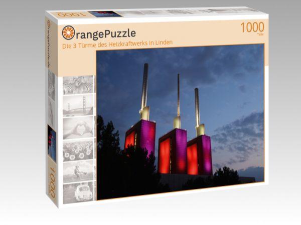 """Puzzle Motiv """"Die 3 Türme des Heizkraftwerks in Linden"""" - Puzzle-Schachtel zu 1000 Teile Puzzle"""