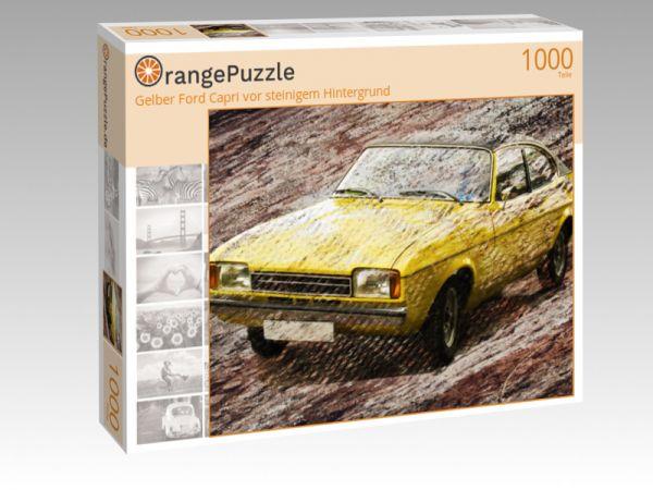 """Puzzle Motiv """"Gelber Ford Capri vor steinigem Hintergrund"""" - Puzzle-Schachtel zu 1000 Teile Puzzle"""