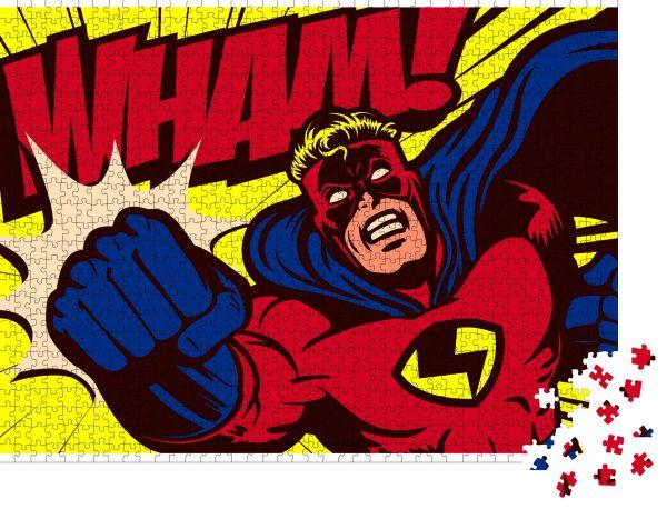 "Puzzle-Motiv ""Pop Art Comic Buch Stil Superheld Stanzen Vektor Poster Design Wanddekoration Illustration"" - Puzzle-Teile zu 1000 Teile Puzzle"