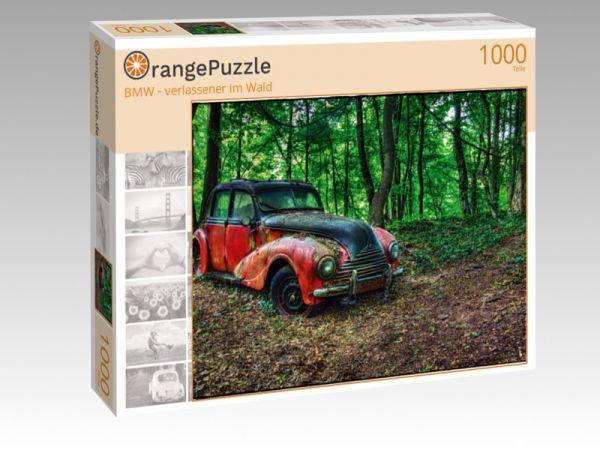 """Puzzle Motiv """"BMW - verlassener im Wald"""" - Puzzle-Schachtel zu 1000 Teile Puzzle"""