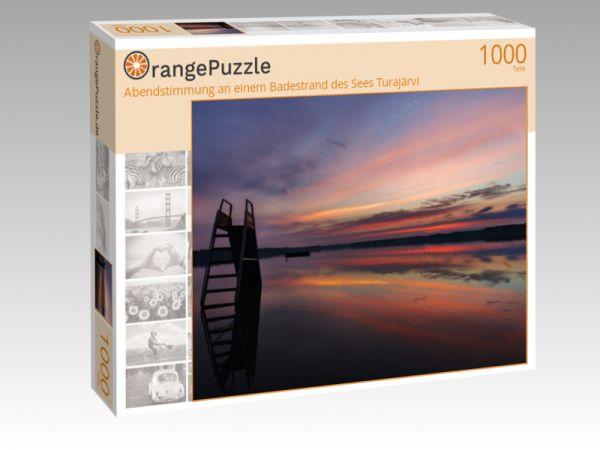 """Puzzle Motiv """"Abendstimmung an einem Badestrand des Sees Turajärvi"""" - Puzzle-Schachtel zu 1000 Teile Puzzle"""
