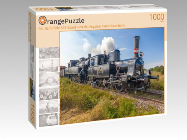"""Puzzle Motiv """"Die  Dampfloks S1916 und F654 der Angelner Dampfeisenbahn"""" - Puzzle-Schachtel zu 1000 Teile Puzzle"""
