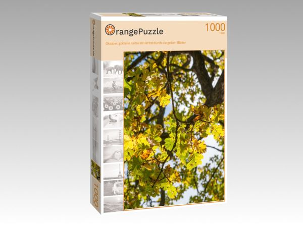 """Puzzle Motiv """"Oktober: goldene Farbe im Herbst durch die gelben Blätter"""" - Puzzle-Schachtel zu 1000 Teile Puzzle"""