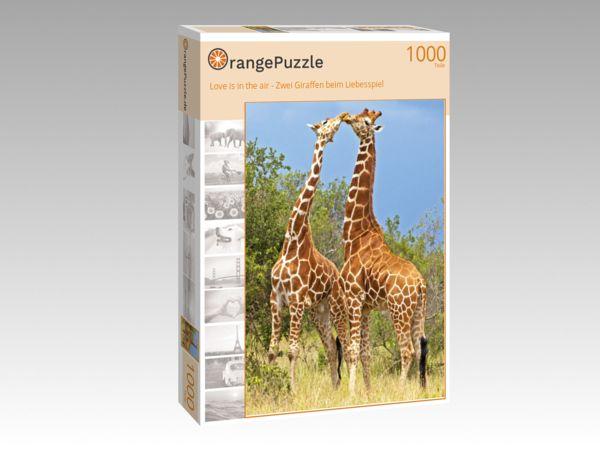 """Puzzle Motiv """"Love is in the air - Zwei Giraffen beim Liebesspiel"""" - Puzzle-Schachtel zu 1000 Teile Puzzle"""