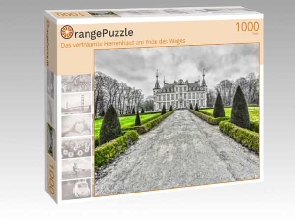 "Puzzle Motiv ""Das verträumte Herrenhaus am Ende des Weges"" - Puzzle-Schachtel zu 1000 Teile Puzzle"