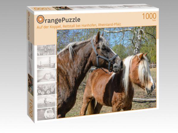 """Puzzle Motiv """"Auf der Koppel, Reitstall bei Hanhofen, Rheinland-Pfalz"""" - Puzzle-Schachtel zu 1000 Teile Puzzle"""