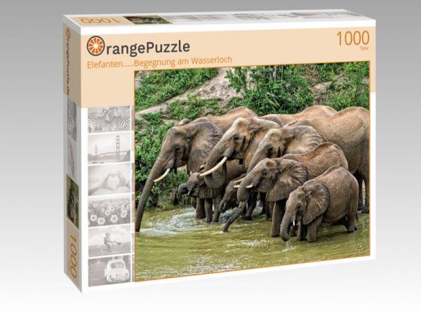 """Puzzle Motiv """"Elefanten.....Begegnung am Wasserloch"""" - Puzzle-Schachtel zu 1000 Teile Puzzle"""