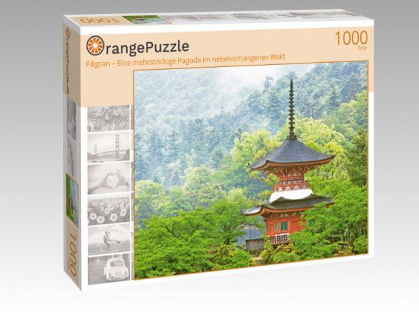 """Puzzle Motiv """"Filigran – Eine mehrstöckige Pagode im nebelverhangenen Wald"""" - Puzzle-Schachtel zu 1000 Teile Puzzle"""