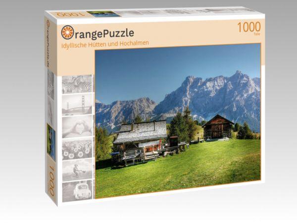 """Puzzle Motiv """"Idyllische Hütten und Hochalmen"""" - Puzzle-Schachtel zu 1000 Teile Puzzle"""