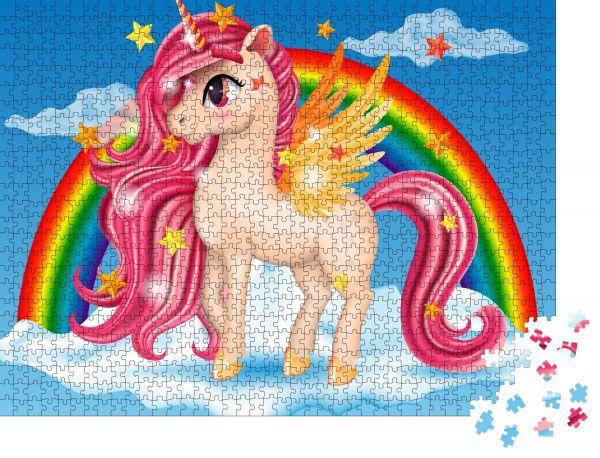 """Puzzle-Motiv """"3D Pony Einhorn mit rosa Juwel"""" - Puzzle-Teile zu 1000 Teile Puzzle"""