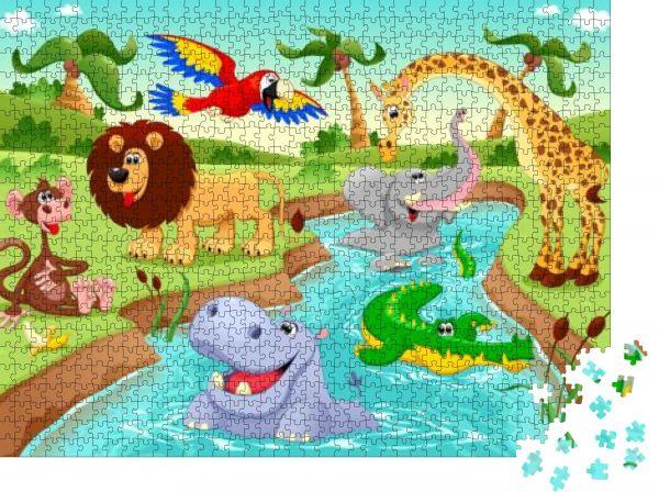 """Puzzle-Motiv """"Afrikanische Tiere im Dschungel. Cartoon- und Vektorillustration"""" - Puzzle-Teile zu 1000 Teile Puzzle"""