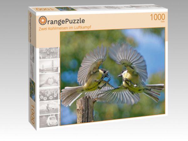 """Puzzle Motiv """"Zwei Kohlmeisen im Luftkampf"""" - Puzzle-Schachtel zu 1000 Teile Puzzle"""