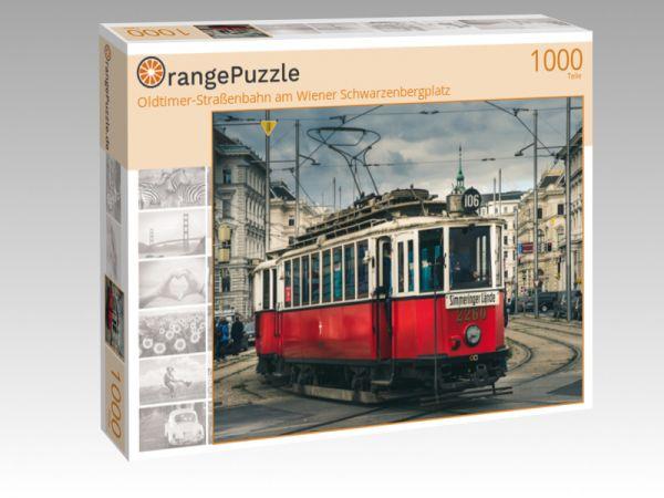 """Puzzle Motiv """"Oldtimer-Straßenbahn am Wiener Schwarzenbergplatz"""" - Puzzle-Schachtel zu 1000 Teile Puzzle"""