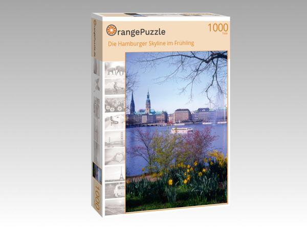 """Puzzle Motiv """"Die Hamburger Skyline im Frühling"""" - Puzzle-Schachtel zu 1000 Teile Puzzle"""