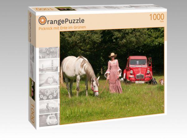 "Puzzle Motiv ""Picknick mit Ente im Grünen"" - Puzzle-Schachtel zu 1000 Teile Puzzle"