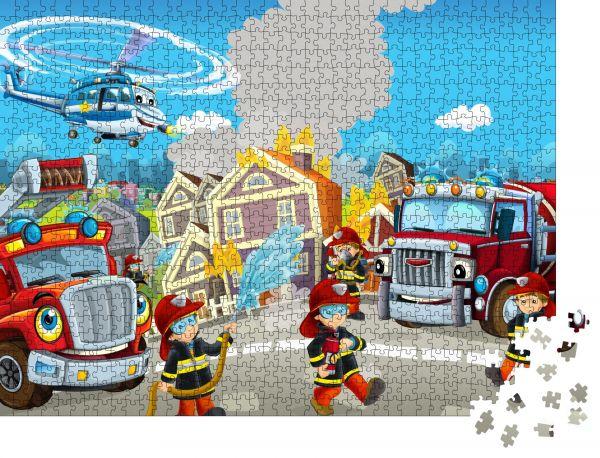 """Puzzle-Motiv """"Cartoon fröhliche und lustige Stadtszene mit Feuerwehrleuten und verschiedenen Autos und Fluggeräten für verschiedene Zwecke - Illustration für Kinder"""" - Puzzle-Teile zu 1000 Teile Puzzle"""