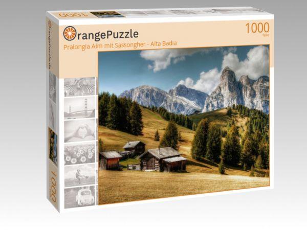"Puzzle Motiv ""Pralongia Alm mit Sassongher - Alta Badia"" - Puzzle-Schachtel zu 1000 Teile Puzzle"