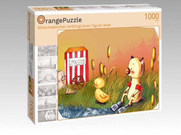 """Puzzle Motiv """"Wildschweinchen verbringt einen Tag am Meer"""" - Puzzle-Schachtel zu 1000 Teile Puzzle"""