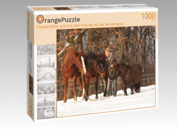 """Puzzle Motiv """"Claudia Miller und ihre drei Freunde auf der Winterweide"""" - Puzzle-Schachtel zu 1000 Teile Puzzle"""