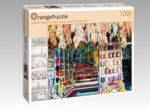 """Puzzle Motiv """"Gewürzstand in den Souks von Marrakesch"""" - Puzzle-Schachtel zu 1000 Teile Puzzle"""