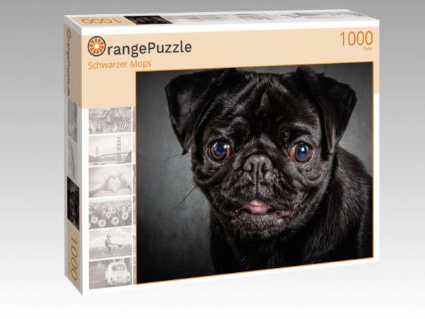 "Puzzle Motiv ""Schwarzer Mops"" - Puzzle-Schachtel zu 1000 Teile Puzzle"