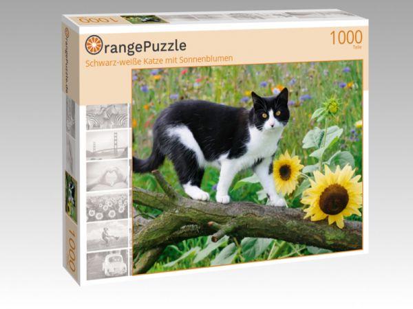 """Puzzle Motiv """"Schwarz-weiße Katze mit Sonnenblumen"""" - Puzzle-Schachtel zu 1000 Teile Puzzle"""