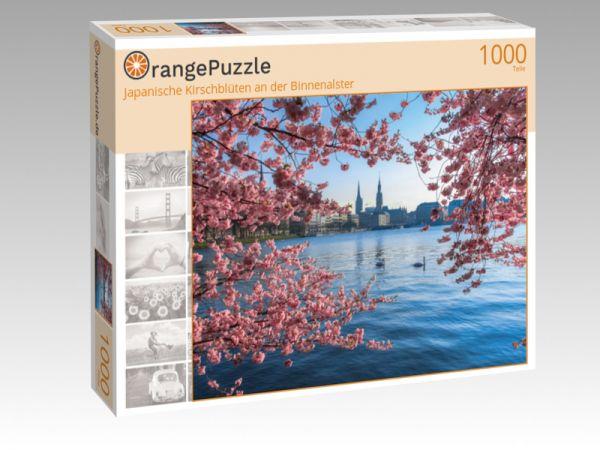"""Puzzle Motiv """"Japanische Kirschblüten an der Binnenalster"""" - Puzzle-Schachtel zu 1000 Teile Puzzle"""