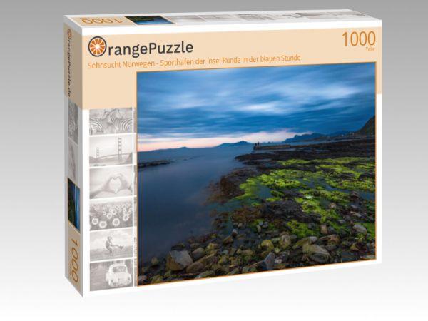 """Puzzle Motiv """"Sehnsucht Norwegen - Sporthafen der Insel Runde in der blauen Stunde"""" - Puzzle-Schachtel zu 1000 Teile Puzzle"""