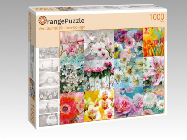 "Puzzle Motiv ""Verträumte Blumen-Collage"" - Puzzle-Schachtel zu 1000 Teile Puzzle"