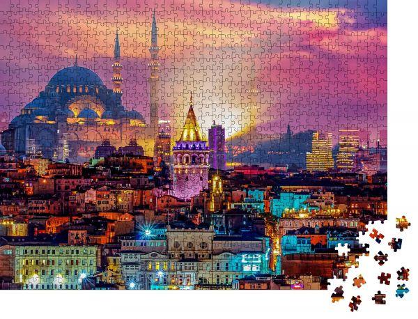 """Puzzle-Motiv """"Skyline von istanbul Galata-Turm, Suleymaniye Moschee (Osmanische Reichsmoschee)"""" - Puzzle-Schachtel zu 1000 Teile Puzzle"""