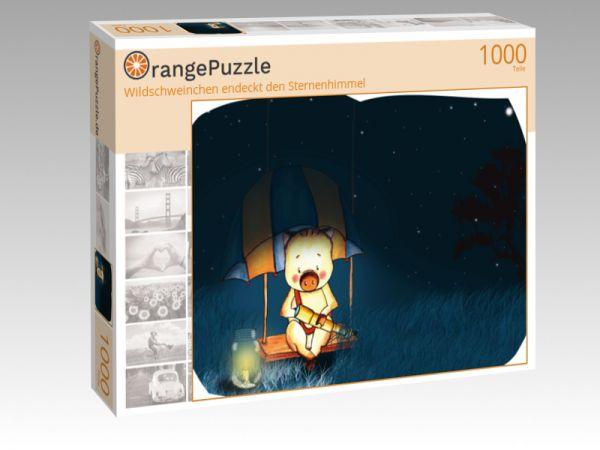 """Puzzle Motiv """"Wildschweinchen endeckt den Sternenhimmel"""" - Puzzle-Schachtel zu 1000 Teile Puzzle"""