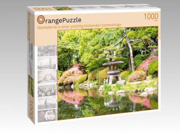 """Puzzle Motiv """"Steinlaterne in einer prächtig blühenden Gartenanlage"""" - Puzzle-Schachtel zu 1000 Teile Puzzle"""