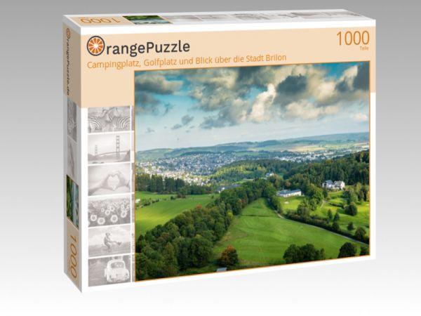"""Puzzle Motiv """"Campingplatz, Golfplatz und Blick über die Stadt Brilon"""" - Puzzle-Schachtel zu 1000 Teile Puzzle"""