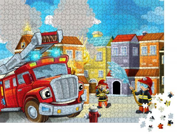 """Puzzle-Motiv """"Cartoonbühne mit Feuerwehrmann und Feuerwehrfahrzeug nahe brennendem Gebäude bunte Szene - Illustration für Kinder"""" - Puzzle-Teile zu 1000 Teile Puzzle"""
