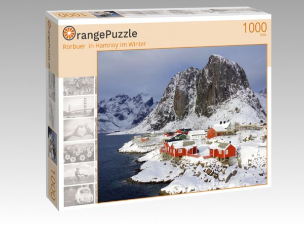"""Puzzle Motiv """"Rorbuer  in Hamnoy im Winter"""" - Puzzle-Schachtel zu 1000 Teile Puzzle"""