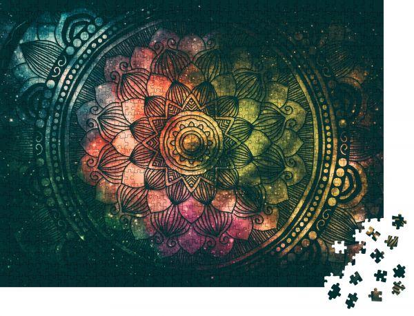 """Puzzle-Motiv """"Abstrakte antike Geometrie mit Sternenfeld und farbigem Galaxienhintergrund"""" - Puzzle-Teile zu 1000 Teile Puzzle"""