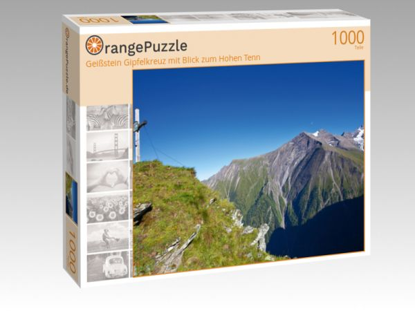 """Puzzle Motiv """"Geißstein Gipfelkreuz mit Blick zum Hohen Tenn"""" - Puzzle-Schachtel zu 1000 Teile Puzzle"""