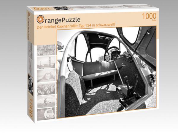 """Puzzle Motiv """"Der Heinkel Kabinenroller Typ 154 in schwarzweiß"""" - Puzzle-Schachtel zu 1000 Teile Puzzle"""