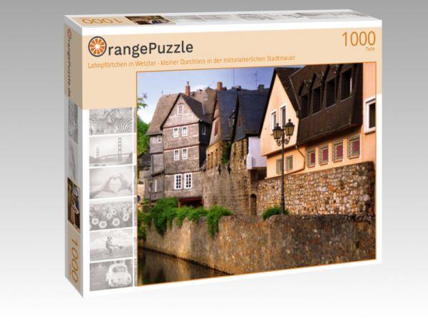 """Puzzle Motiv """"Lahnpförtchen in Wetzlar - kleiner Durchlass in der mittelalterlichen Stadtmauer"""" - Puzzle-Schachtel zu 1000 Teile Puzzle"""