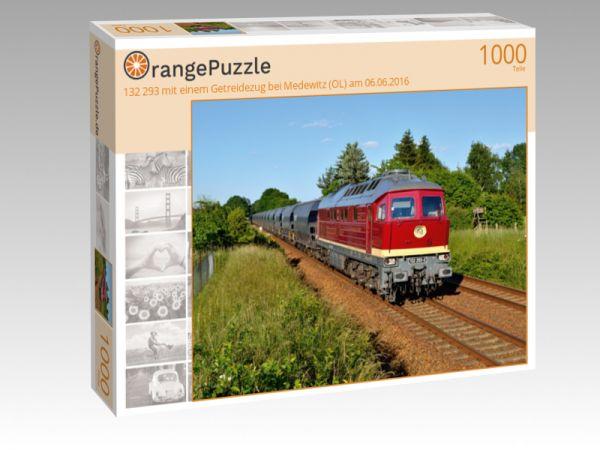 """Puzzle Motiv """"132 293 mit einem Getreidezug bei Medewitz (OL) am 06.06.2016"""" - Puzzle-Schachtel zu 1000 Teile Puzzle"""