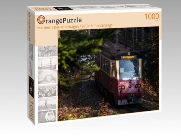 """Puzzle Motiv """"Mit dem HSB-Triebwagen 187 016-1 unterwegs"""" - Puzzle-Schachtel zu 1000 Teile Puzzle"""