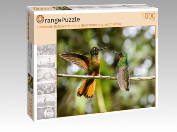 "Puzzle Motiv ""Streitende Rotbauchkolibris (Boissonneaua matthewsii)"" - Puzzle-Schachtel zu 1000 Teile Puzzle"