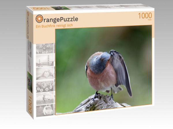 """Puzzle Motiv """"Ein Buchfink reinigt sich"""" - Puzzle-Schachtel zu 1000 Teile Puzzle"""