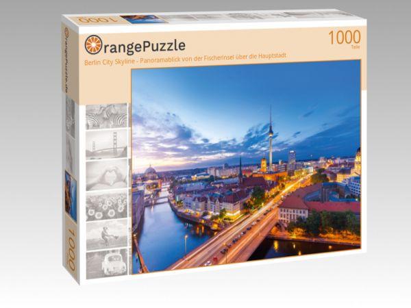 """Puzzle Motiv """"Berlin City Skyline - Panoramablick von der Fischerinsel über die Hauptstadt"""" - Puzzle-Schachtel zu 1000 Teile Puzzle"""