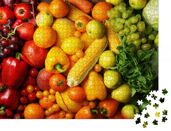 """Puzzle-Motiv """"Bunter Obst- und Gemüsehintergrund"""" - Puzzle-Schachtel zu 1000 Teile Puzzle"""