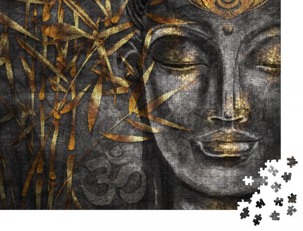 "Puzzle-Motiv ""Bodhisattva Buddha - digitale Kunstcollage kombiniert mit Aquarell"" - Puzzle-Teile zu 1000 Teile Puzzle"