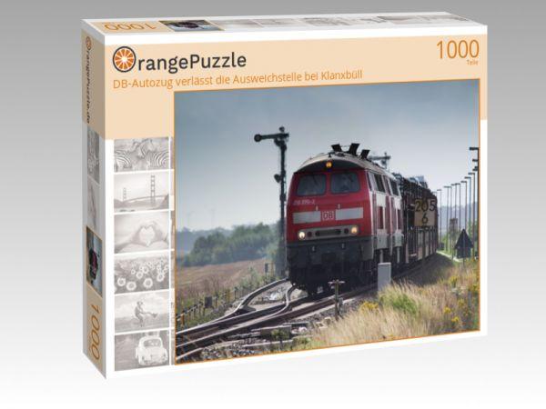 """Puzzle Motiv """"DB-Autozug verlässt die Ausweichstelle bei Klanxbüll"""" - Puzzle-Schachtel zu 1000 Teile Puzzle"""